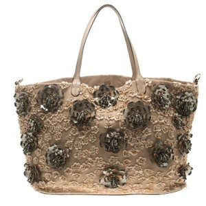 Valentino Leather Sequin Beaded Floral Embellished Tote in Beige