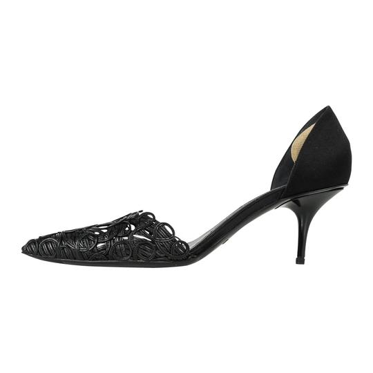 Giorgio Armani D'orsay Leather Satin Black Pumps