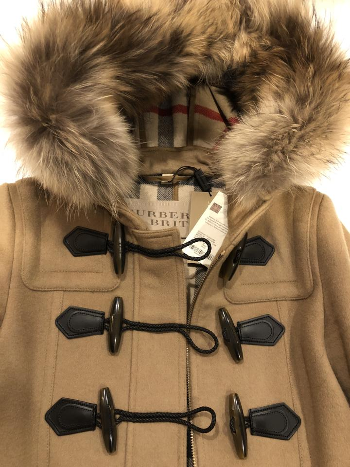 c7d680bdc86dc Burberry Camel Brit Tan Wool with Blackwell Fur Trim Hood Coat Size 4 (S) -  Tradesy