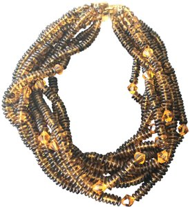 Jay Strongwater Exquisite Vintage 8 strand Amber Glass Beaded JeweleryNecklace.