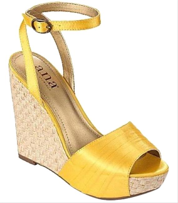 Item - Yellow Satin Wedges Size US 9.5 Regular (M, B)