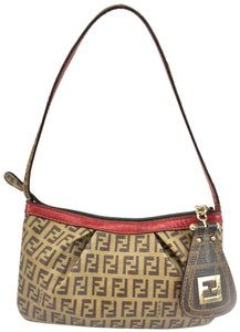 Fendi Leather Ff Logo Beige Tote in Red
