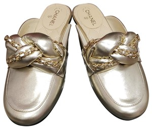 Chanel 36.5 New Light Gold Mules