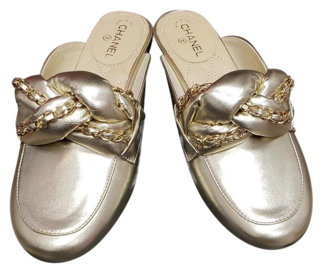 Item - Light Gold New Lambskin Braided Chain Cc Mules/Slides Size EU 37.5 (Approx. US 7.5) Regular (M, B)