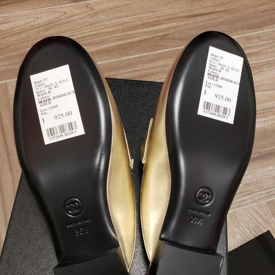 Chanel New 37.5 Light Gold Mules Image 1