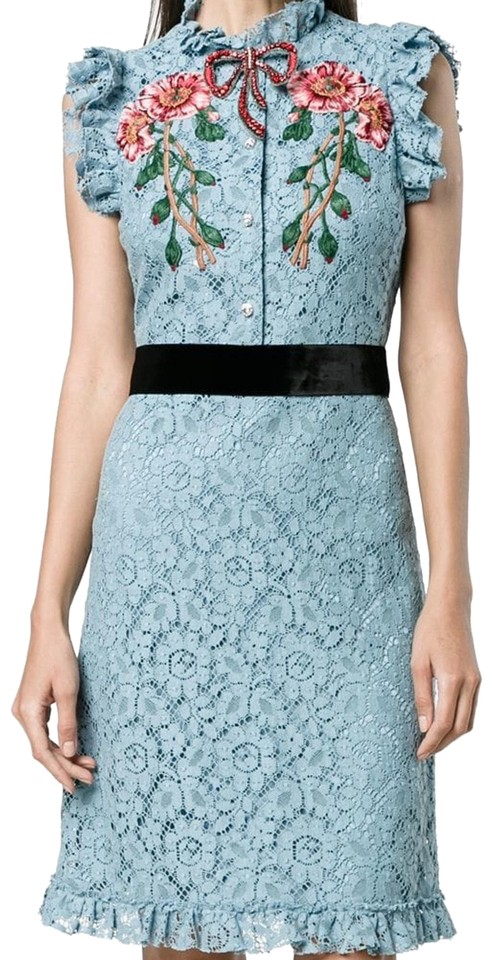 d709aec99 Gucci Blue Cluny Embroidered Flower Embroidered Mid-length Cocktail ...