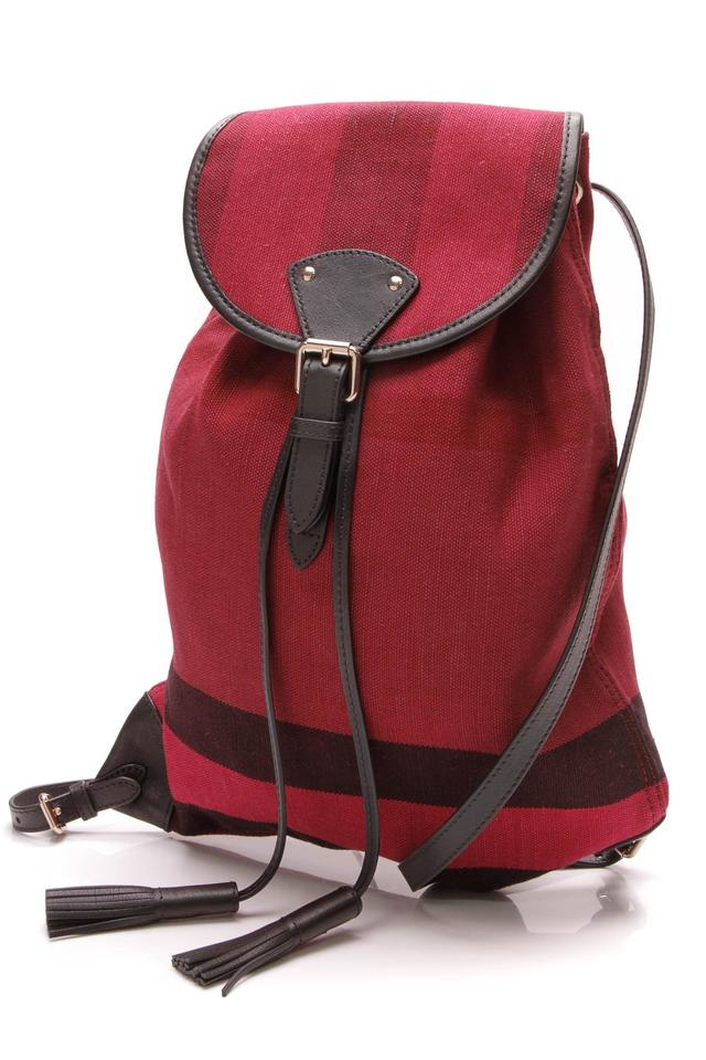 7efba48f5fc8 Burberry Chiltern Drawstring Brit Check Red Canvas Backpack - Tradesy