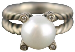 David Yurman David Yurman Silver 4 Prong Diamond/Pearl Ring