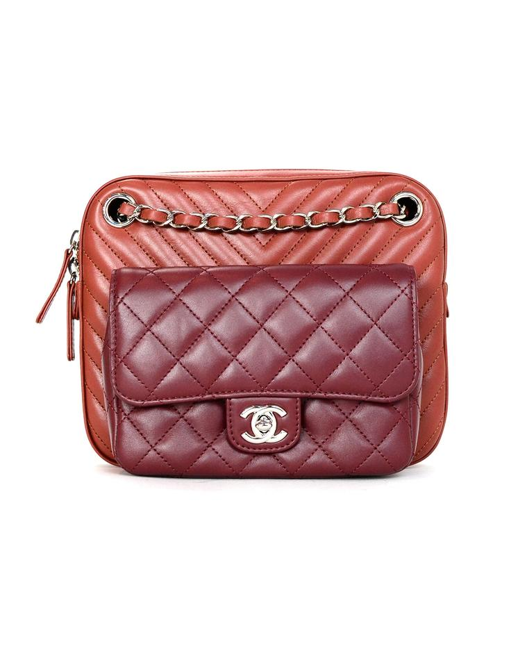 bf399466d9f9 Chanel Camera 2018 Quilted Chevron Burgundy Brick Lambskin Leather ...
