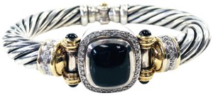 David Yurman David Yurman 18K yellow gold & sterling silver diamond & onyx bracelet