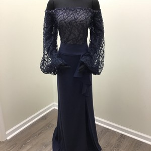 Terani Couture Navy/Nude Lace/Polyester 1811m6570 Formal Bridesmaid/Mob Dress Size 14 (L)