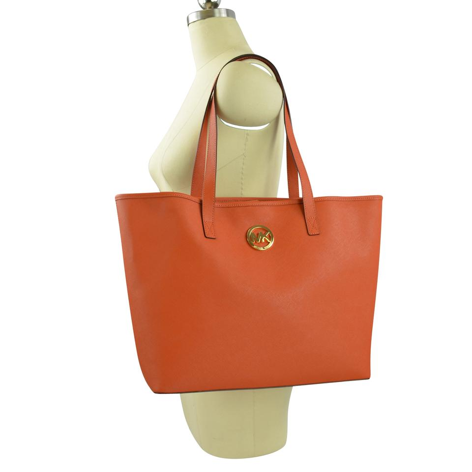 21aba0484cdb Michael Kors Jet Set Medium Multi-function Travel Burnt Orange Saffiano  Leather Tote