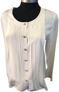 Chanel Pleated Longsleeve Top off white