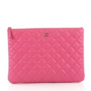 9e734cbf5714 Chanel Clutch O Case Quilted Caviar Medium Pink Leather Clutch - Tradesy