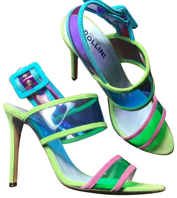 Item - Green and Blue and Purple Colorful Suede Plastic Strap Heels Pumps Size US 8 Regular (M, B)