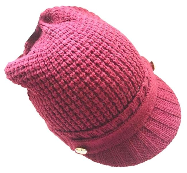 Item - Burgundy and Gold Knit Hat