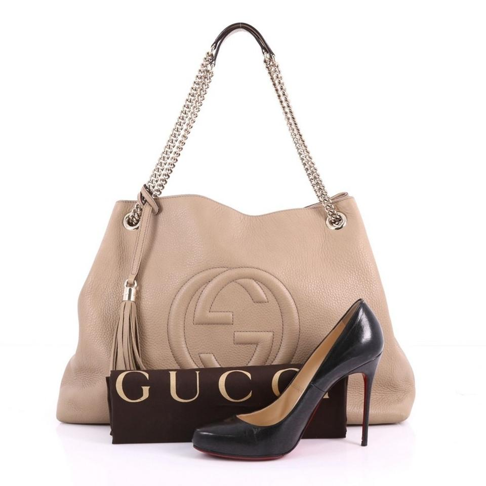 e26b19c594c Gucci Soho Chain Strap Large Beige Leather Shoulder Bag - Tradesy