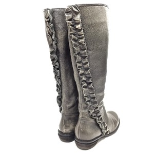 Miss Albright Leather Ruffle Distressed Knee High Gunmetal Boots