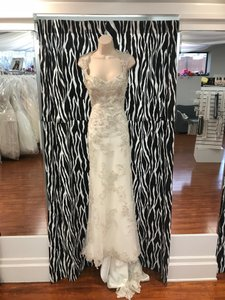 Maggie Sottero Ivory/Pewter Metallic Lace Jade Modern Wedding Dress Size 4 (S)
