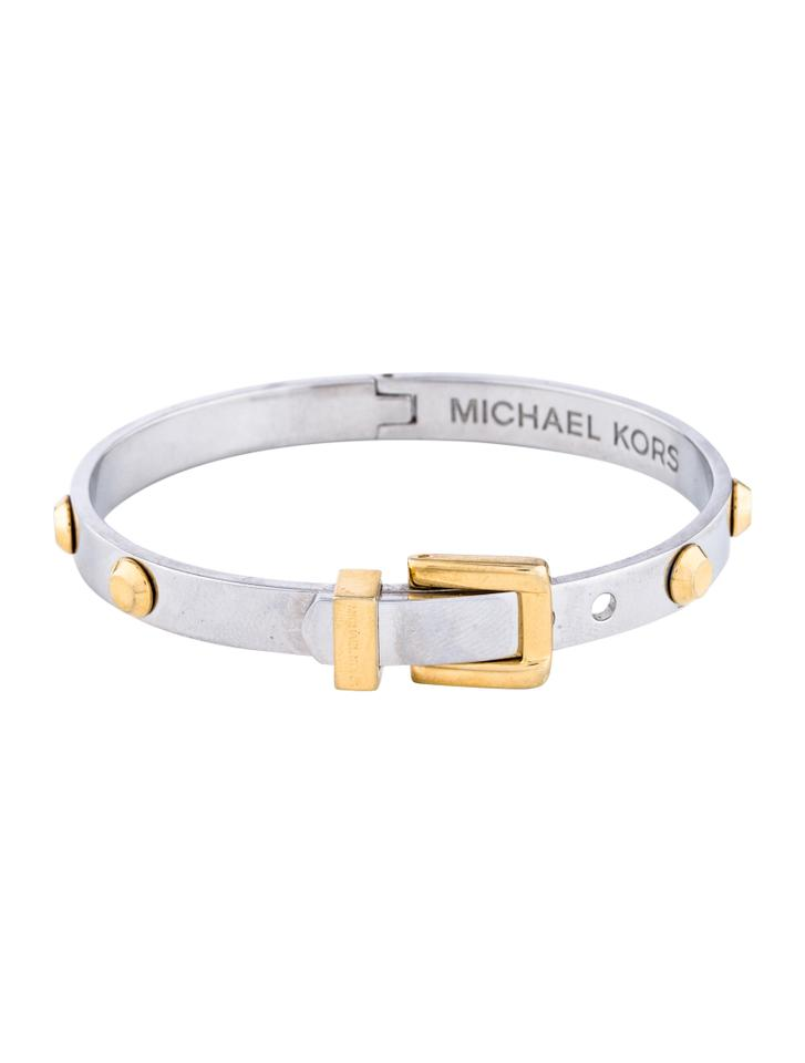 Michael Kors Silver And Gold Tone Belt Buckle Design With Studs
