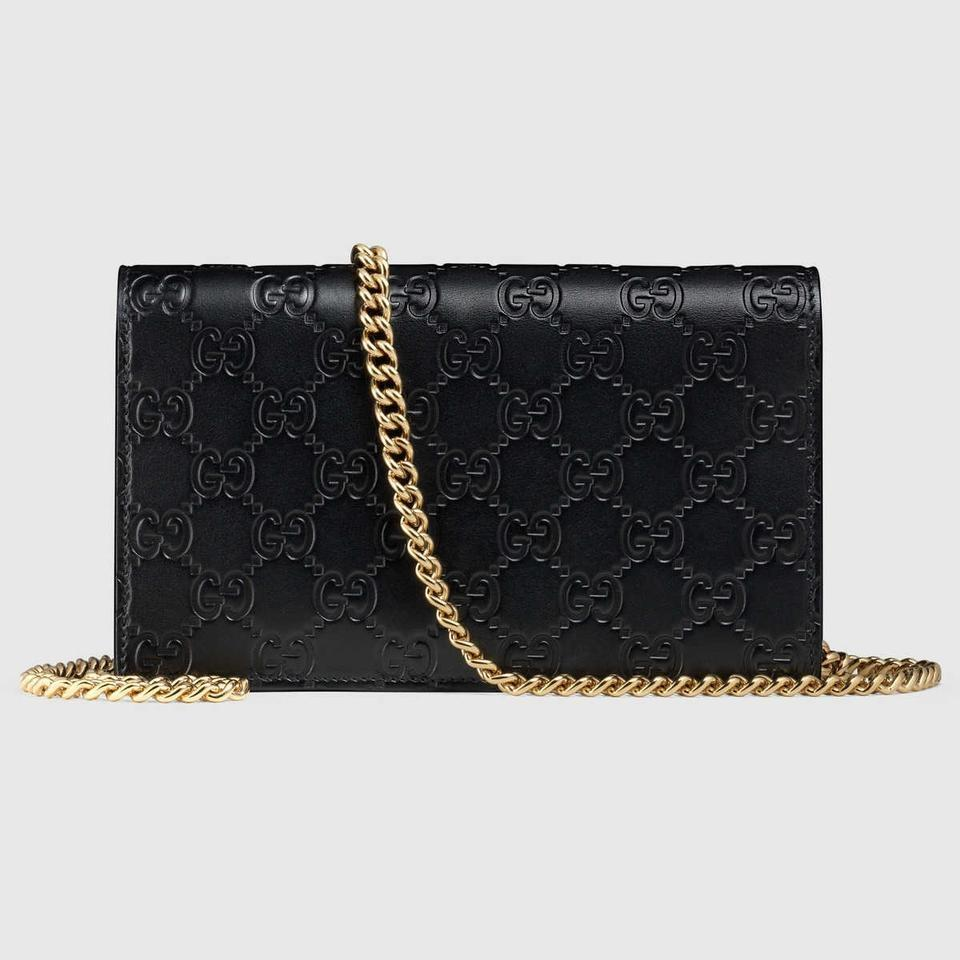 61de03bc3e9 Gucci Chain Wallet Icon Gg Signature Wallet Black Leather Cross Body Bag -  Tradesy