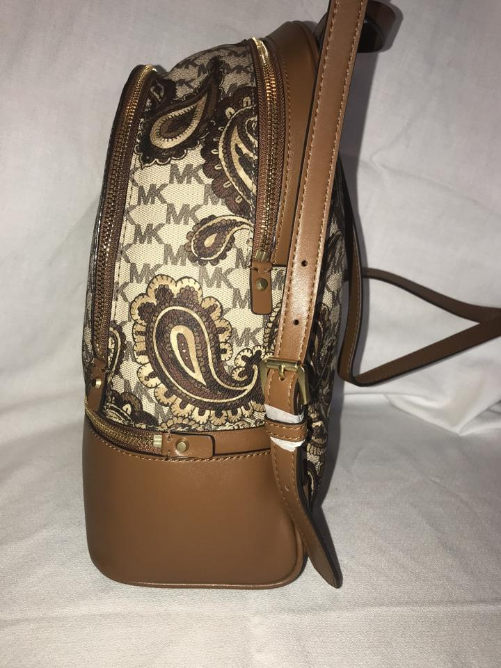 5dcd261e394a Michael Kors Studio Rhea Zip Paisley Medium Neutral Print and Saddle  Pvc/Leather Backpack - Tradesy