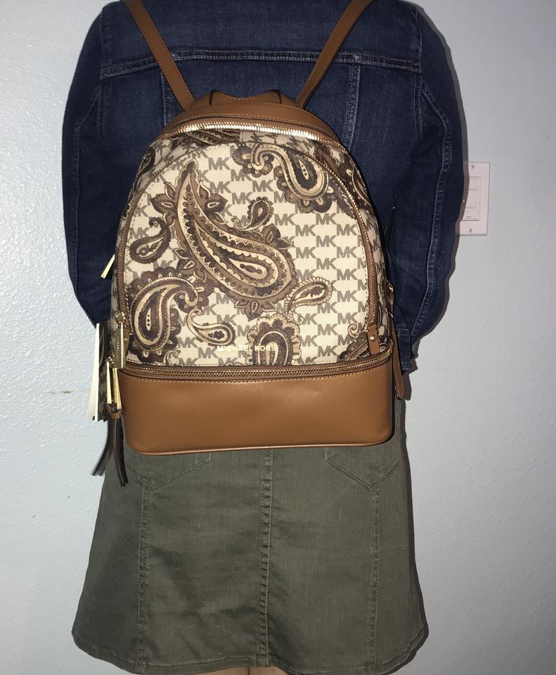 2f3b7d67a916 Michael Kors Studio Rhea Zip Paisley Medium Neutral Print and Saddle ...