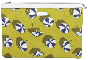 Gucci Canvas Parasols Cosmetic Case Yellow Clutch