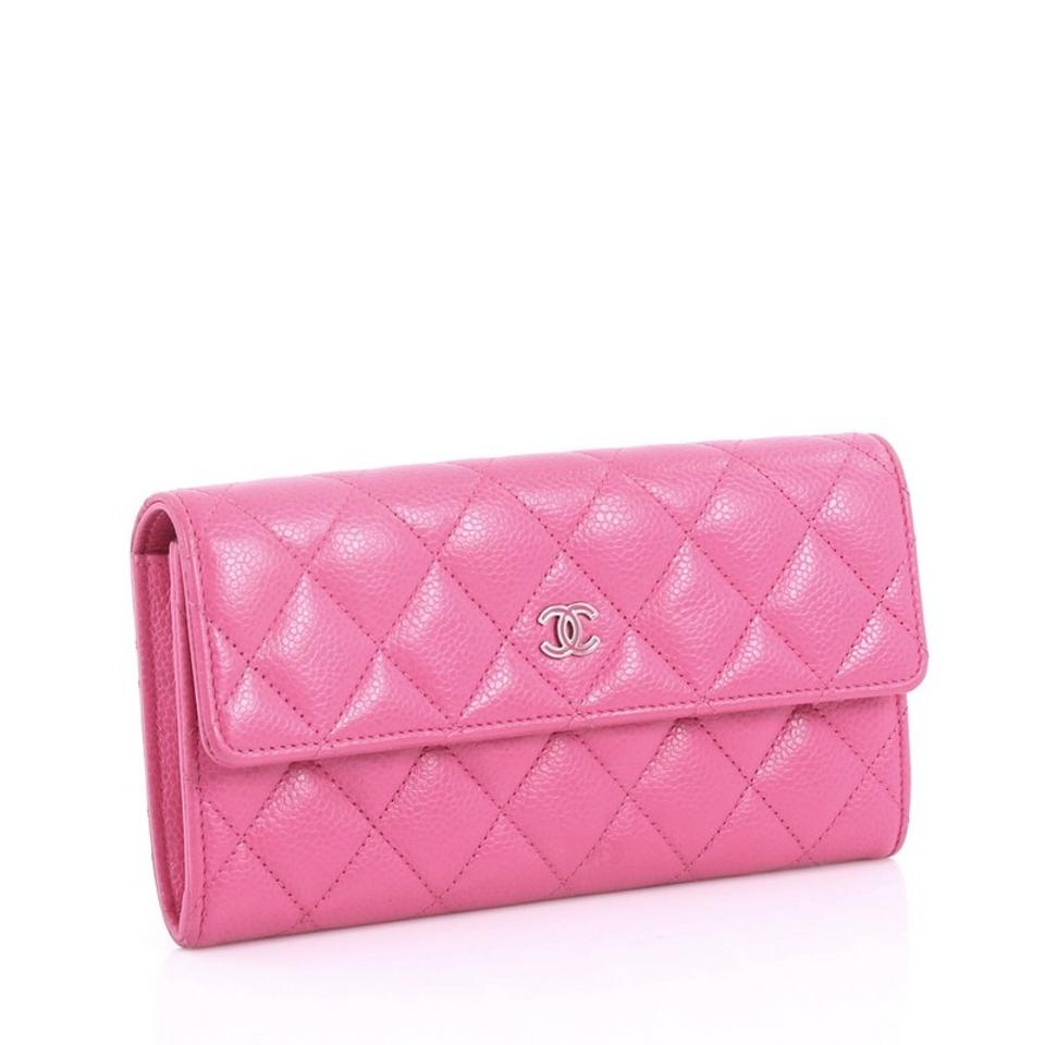 dcc5b1da023b Chanel Cc Gusset Flap Wallet Quilted Caviar Long Pink Leather ...