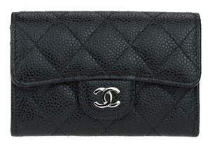 Chanel Chanel Small Black Caviar Leather Flap Wallet SHW