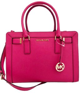 Michael Kors Dillon Small Monogram Brown Crossbody Strap Satchel in ultra pink