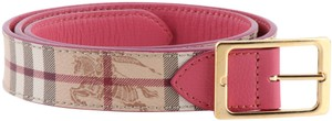 Burberry Burberry Pink Riveted Reversible Check Leather Belt