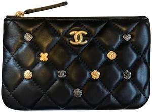 Chanel CHANEL 18K Gold Rare/Sold Out 2018 Charms Quilted Small Pouch Wallet