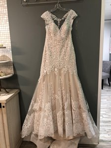 Allure Bridals Champagne/Ivory/Gold Lace 9468 Formal Wedding Dress Size 8 (M)