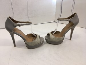 Badgley Mischka Upper Soles Gray all leather but woven straw front stiletto leather heels ankle straps open toe Platforms