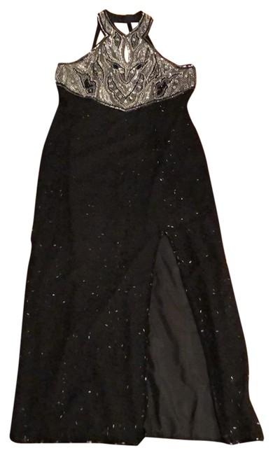 Item - Black Beaded Gown Long Formal Dress Size 14 (L)