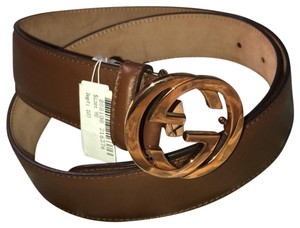 Gucci leather belt with double G gold buckle