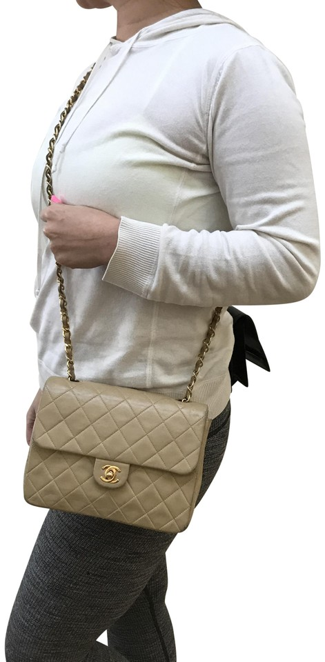 60f42c653343 Chanel Classic Vintage Square Flap Beige Leather Cross Body Bag ...