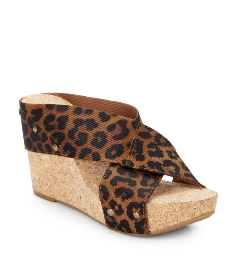 105616ab0f21 Lucky Brand Brown Leopard Print Criss Cross Cork Wedges Size US 7 ...