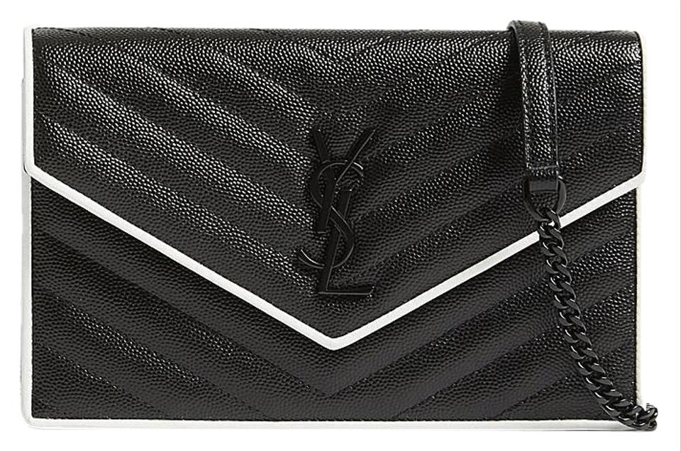 Saint Laurent Chain Wallet Monogram Envelope Contrast Trim Textured Quilted  Black and White Leather Cross Body Bag 7241a72374548