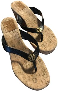 Tory Burch Natural color cork wedge with black straps Sandals