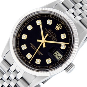 Rolex Rolex Mens Datejust SS/18K White Gold with Black Diamond Dial