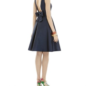Alfred Sung Midnight Blue Sateen Twill Style D660 Formal Bridesmaid/Mob Dress Size 2 (XS)