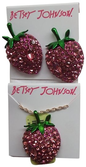 Preload https://img-static.tradesy.com/item/24271026/betsey-johnson-hot-pink-new-strawberry-earrings-and-necklace-0-3-540-540.jpg