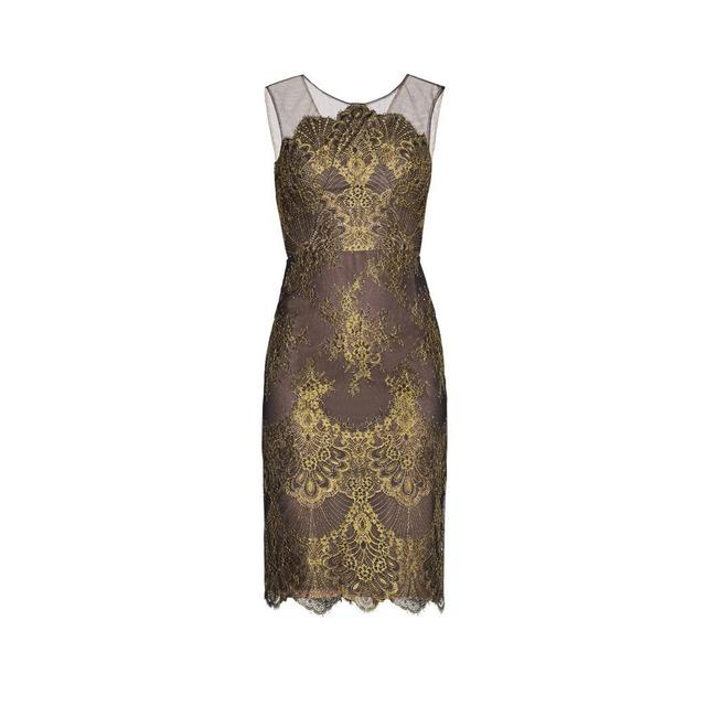 Item - Black and Gold Metallic Lace Sheath Mid-length Cocktail Dress Size 2 (XS)