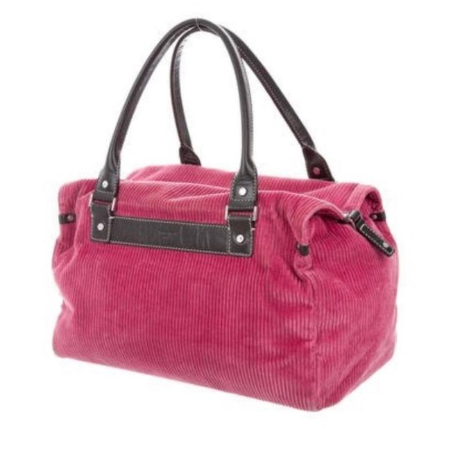 Item - Corduroy & Pink Raspberry and Brown Leather Satchel