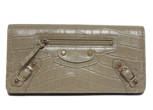 Balenciaga New Balenciaga Classic City Croc-Embossed Leather Beige/Tan Wallet