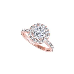DesignerByVeronica Cubic Zirconia Halo Engagement Ring in 14K Rose Gold