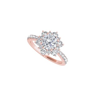 DesignerByVeronica Cubic Zirconia Flower Shaped Ring in 14K Rose Gold