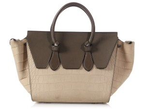 Céline Ce.p0927.09 Crocodile Brown Embossed Gold Hardware Tote in Beige
